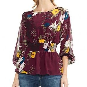 Vince Camuto Floral Smocked Balloon Sleeve Blouse
